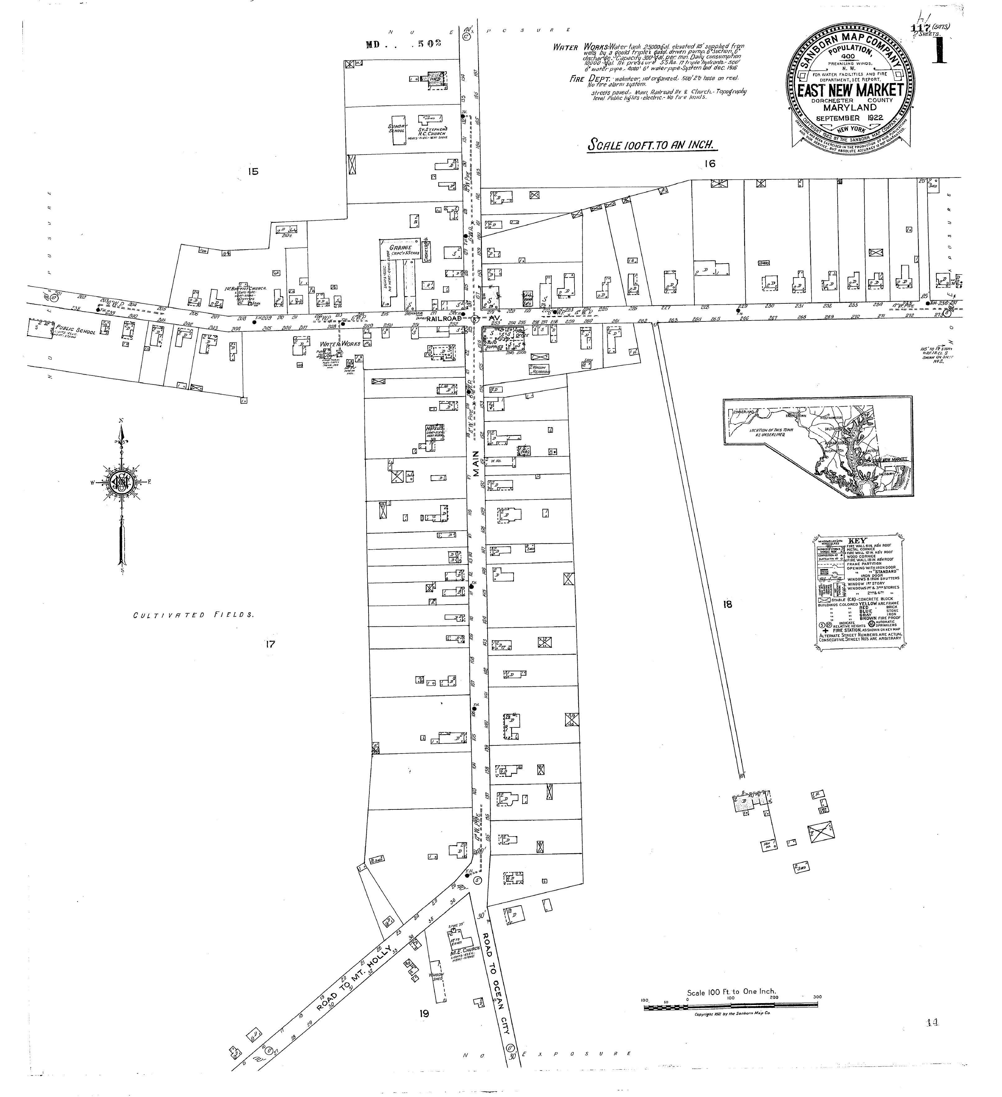 1922 Sanborn Fire Map East New Market Maryland