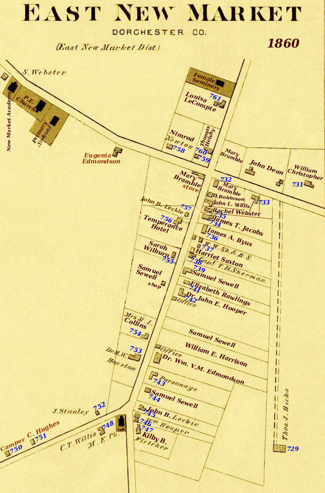 1860 Census Map of East New Market