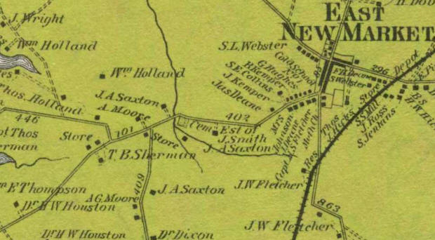 1877 Map showing where Samuel Green lived